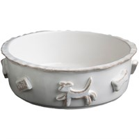Image of Dog Food/Water Bowl - Small French White