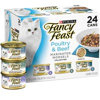 Image of Purina Fancy Feast - Poultry & Beef Marinated Morsels Variety Pack Canned Cat Food (24x3 oz)