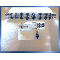 Image of Rhinestone Dog Collars - Merry in Blue (Medium/Large)