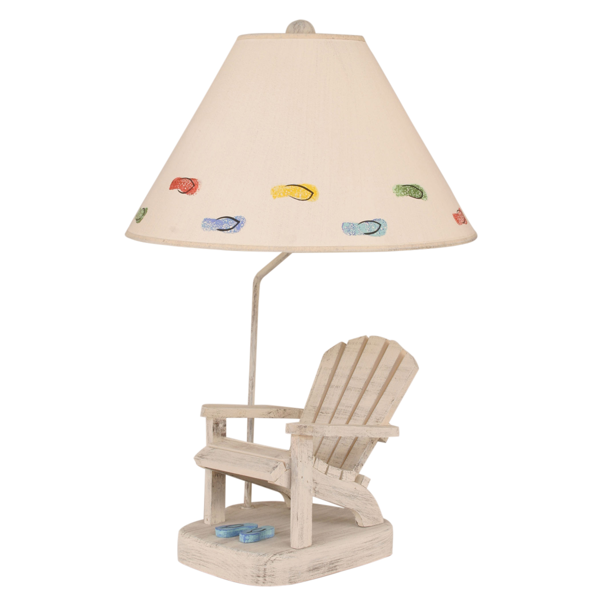 Adirondack Chair Table Lamp with Blue Flip Flops