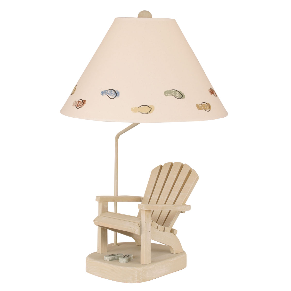 Adirondack Chair Table Lamp with Sage Flip Flops