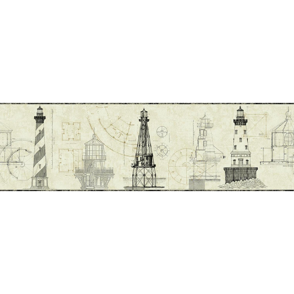 Lighthouse blueprints compare prices at nextag architectural lighthouse wallpaper border black malvernweather Image collections