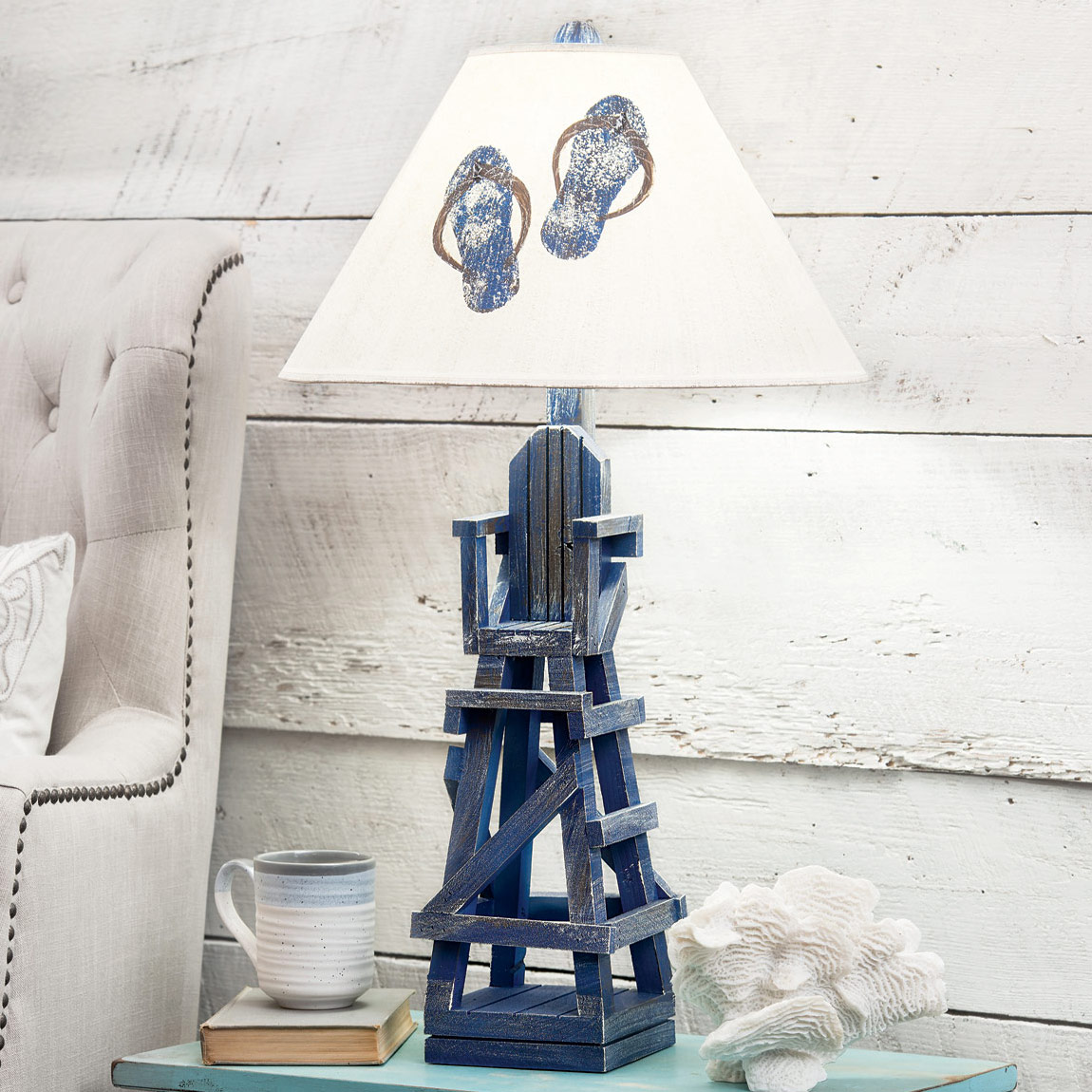 Blueberry Lifeguard Chair Table Lamp with Flip Flop Shade