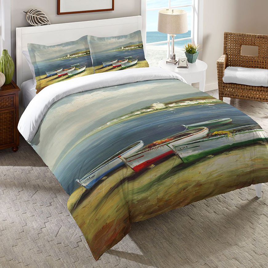 Colorful Boats Duvet Cover - King