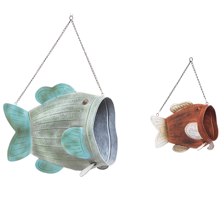 Hanging Metal Fish Planters - Set of 2