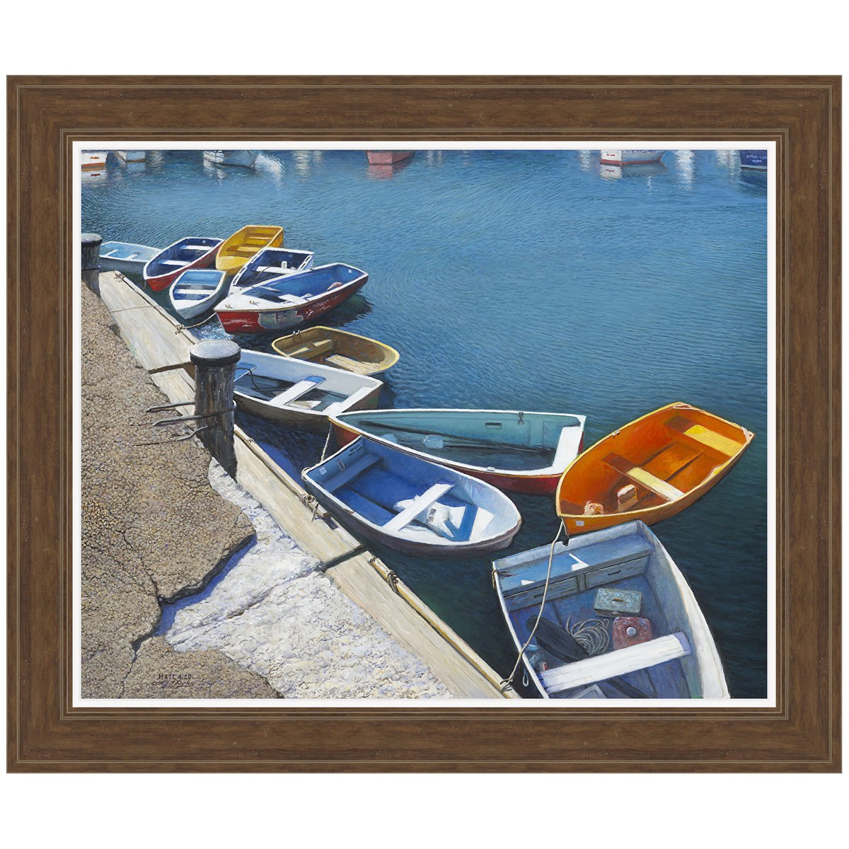 Lonely Boats Framed Canvas