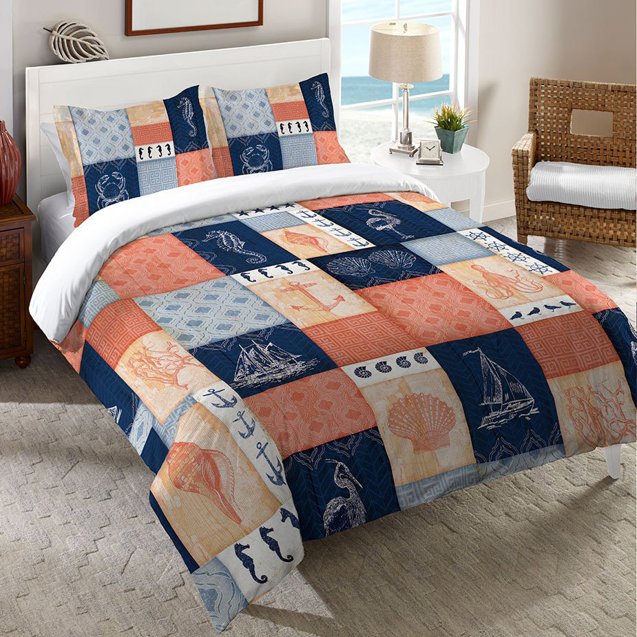 Navy and Coral Blocks Duvet Cover - Queen