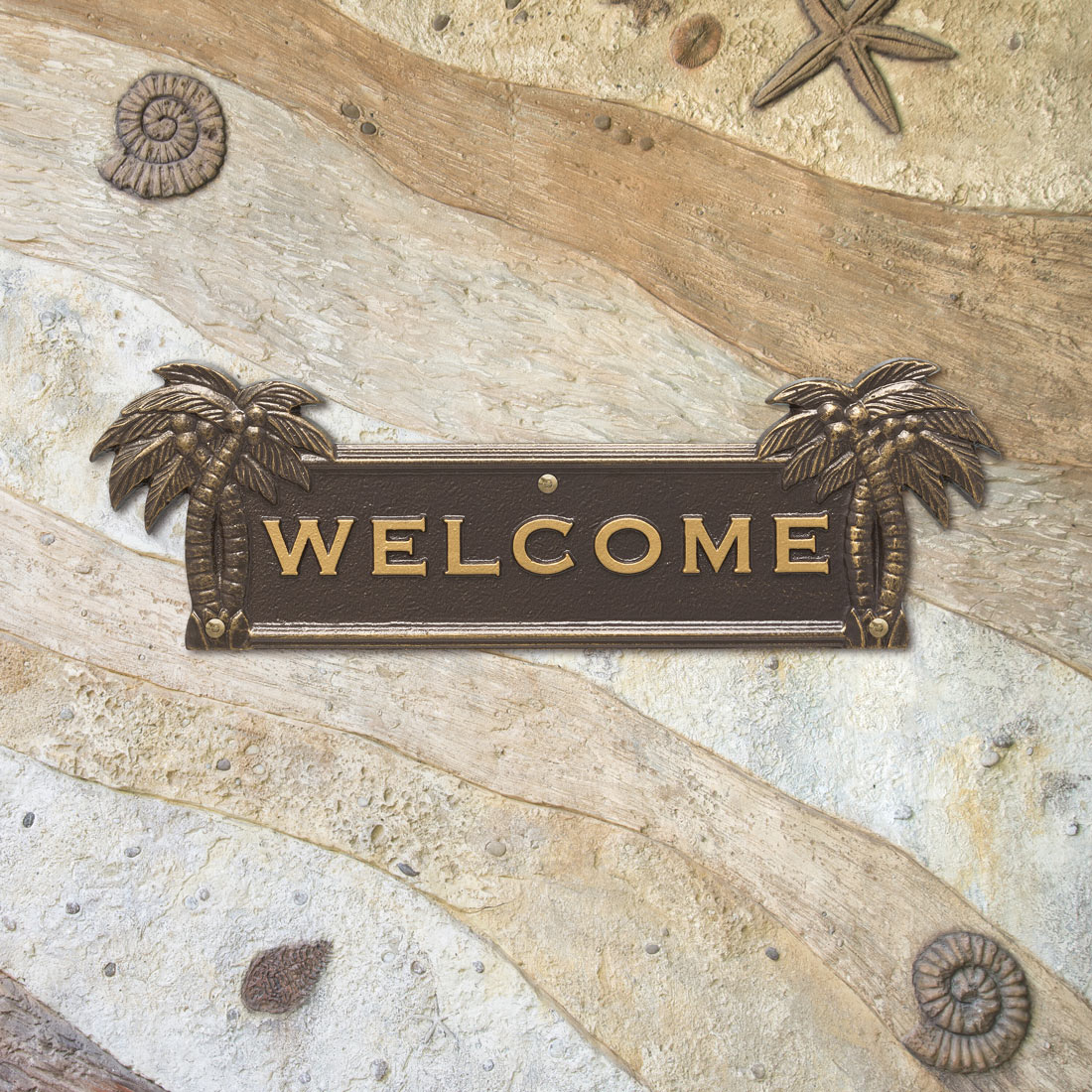 Palm Tree Welcome Plaque - Bronze and Gold