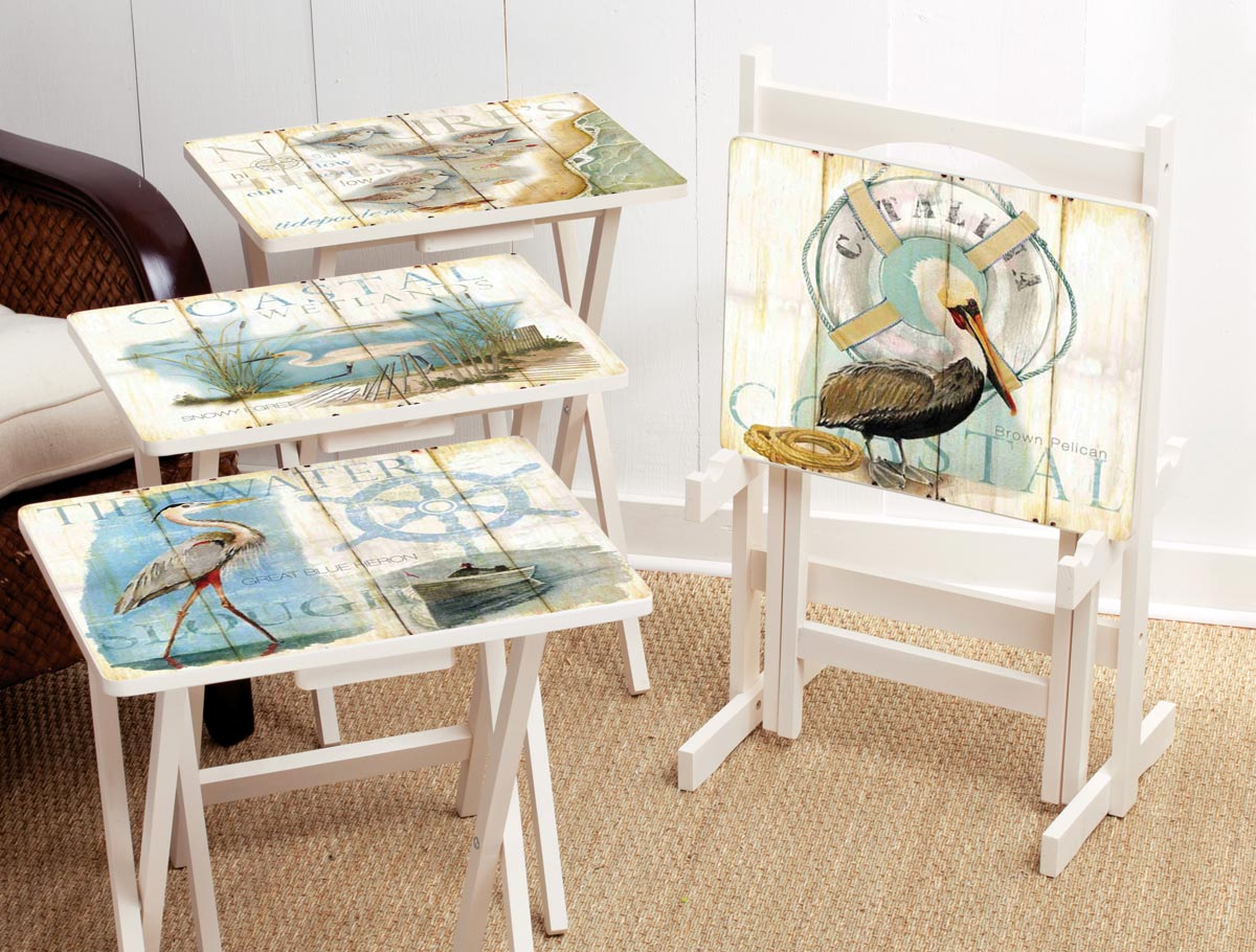 Shore Birds TV Tray Set with Stand - Set of 4