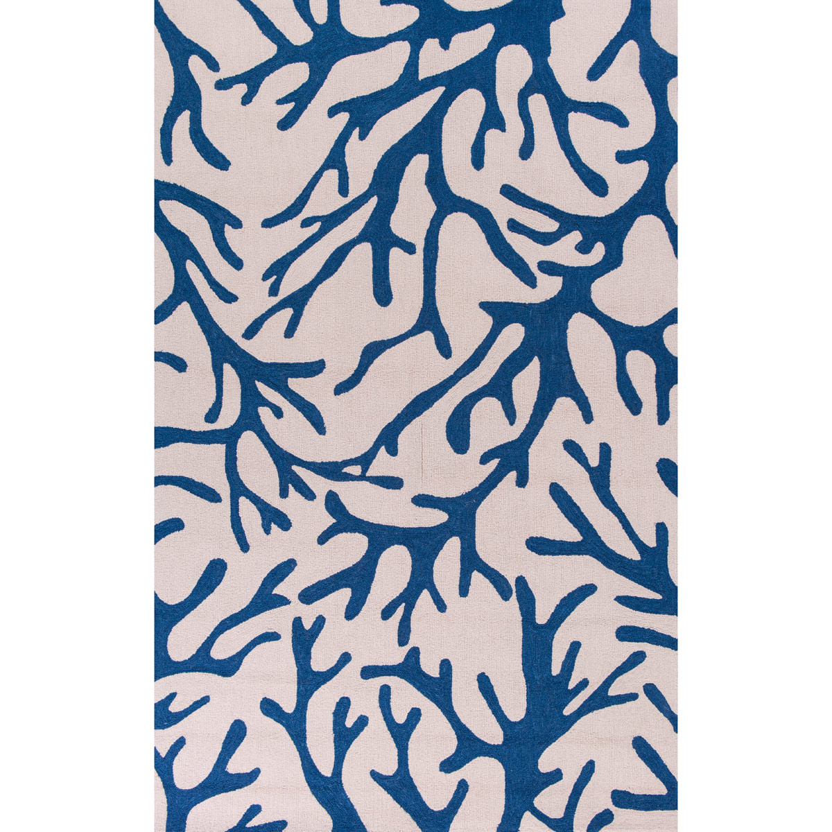 Sonesta Ivory and Blue Coral Rug - 5 x 8