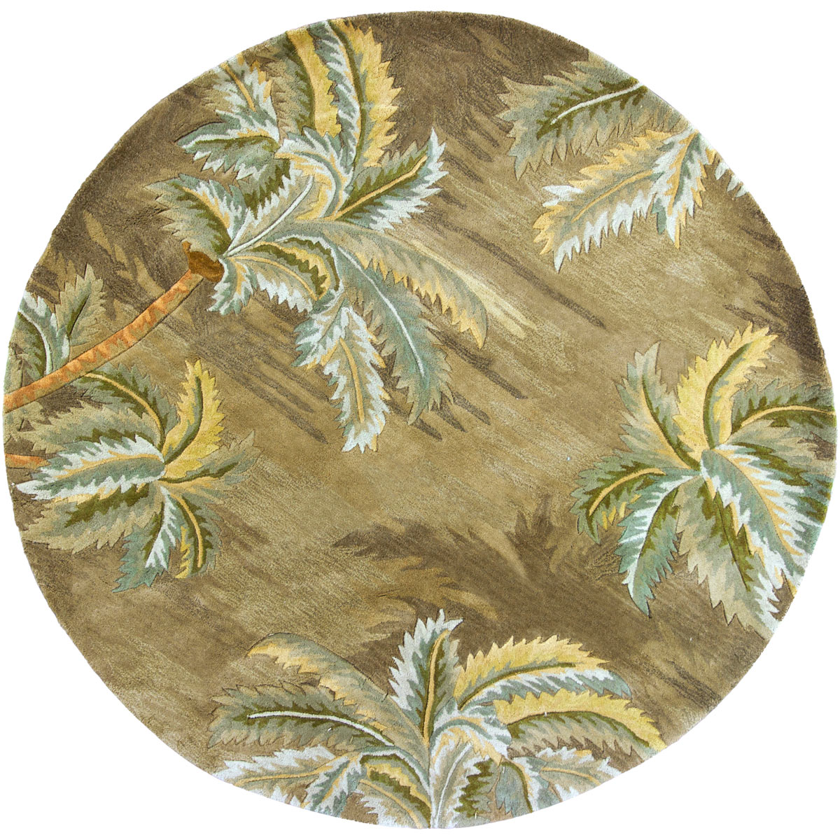 Sparta Moss Palm Trees Rug - 6 Ft Round
