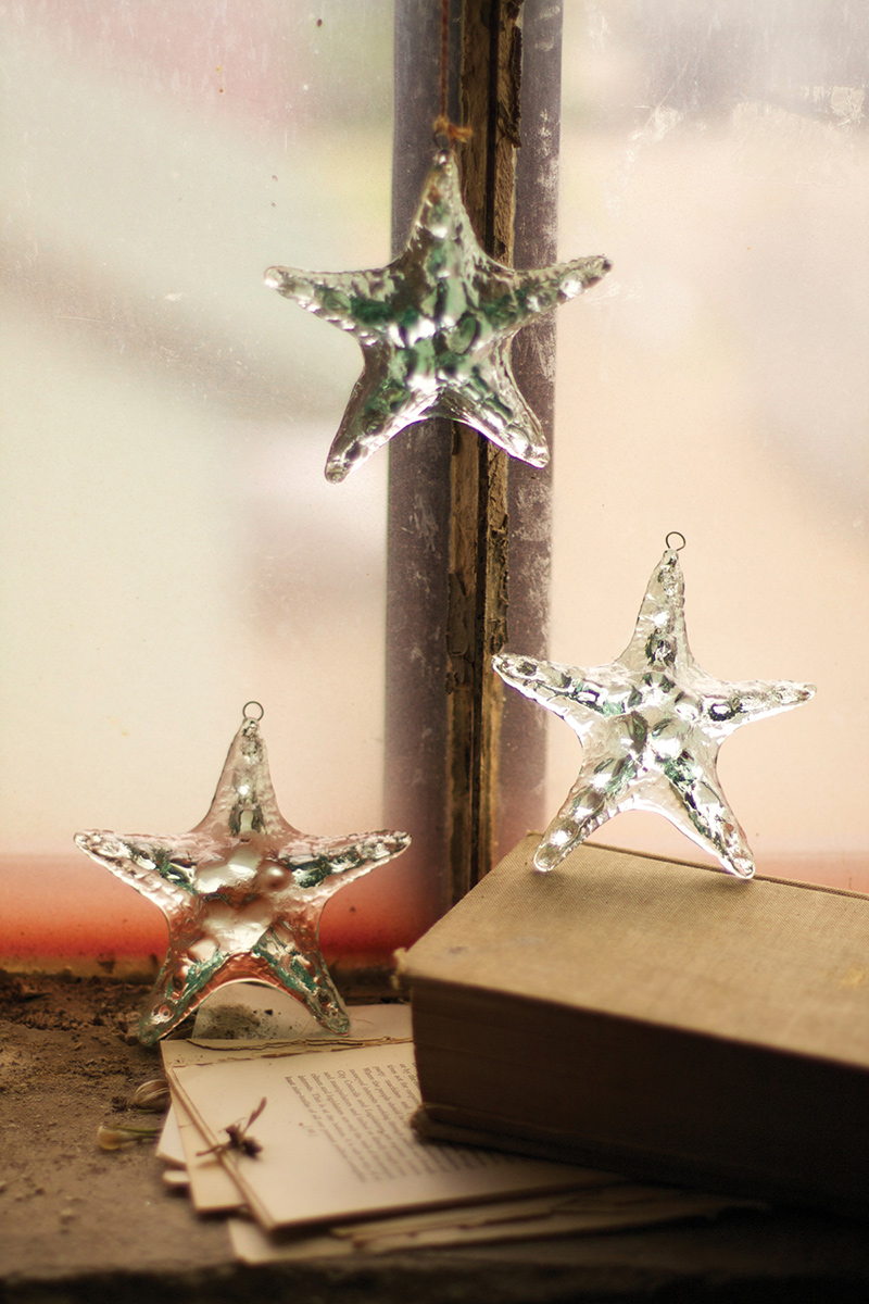 Starfish Icy Glass Ornaments - Set of 4