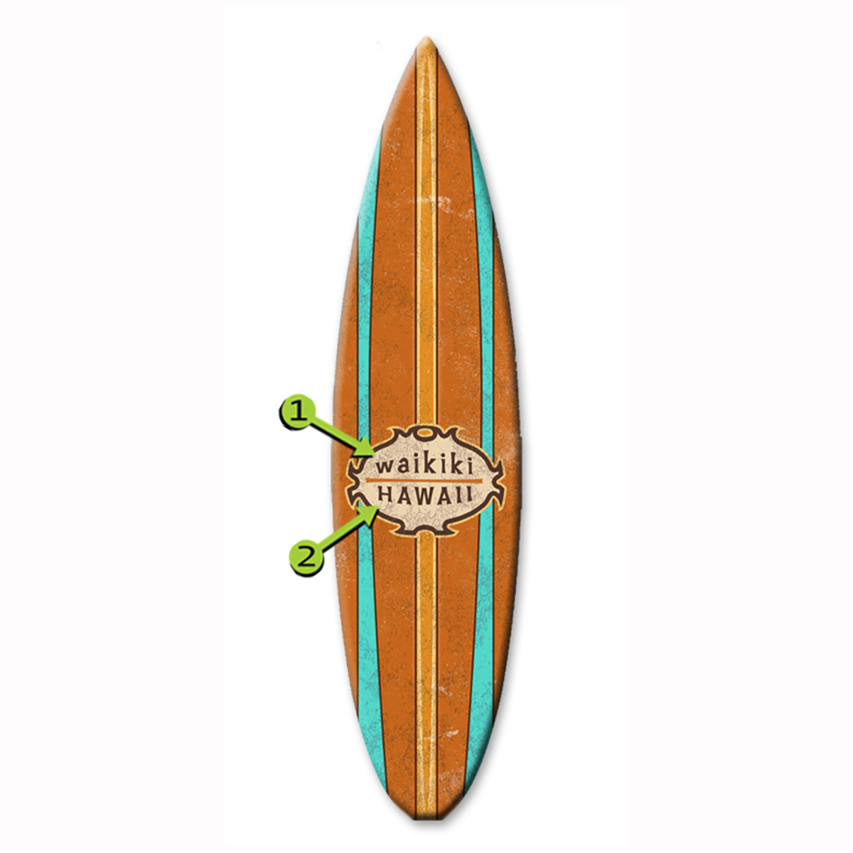 Stripes Surfboard Wood Personalized Sign - 12 x 44