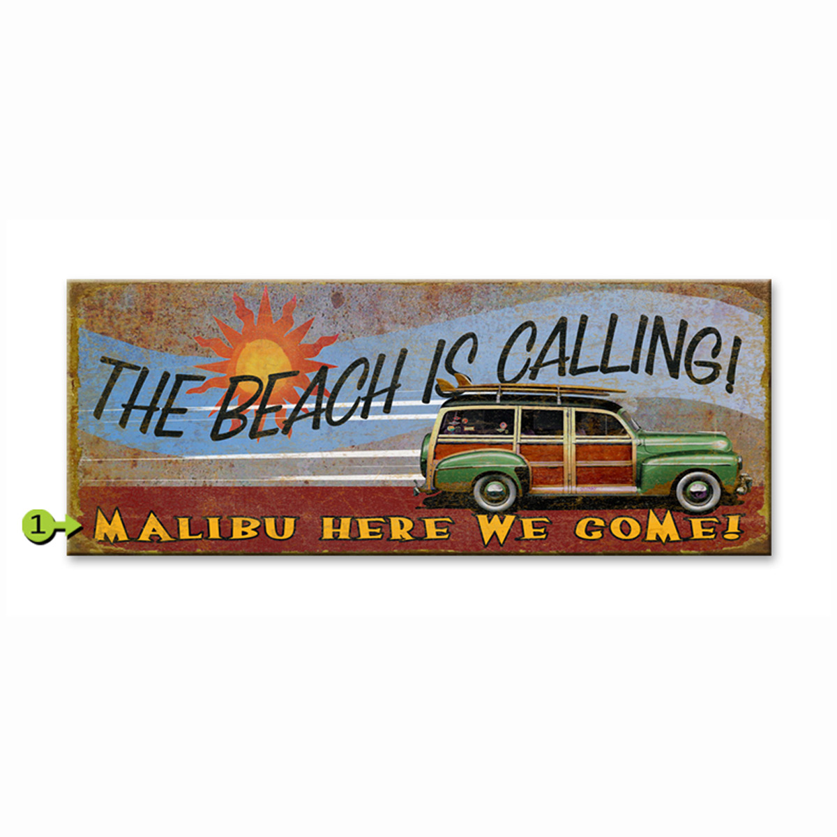 The Beach is Calling Personalized Sign - 14 x 36